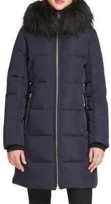 Donna Karan Quilted Faux Fur-Trimmed Jacket