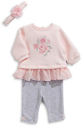 Little Me Baby Girl's Three-Piece Roses Top, Leggings Headband Set