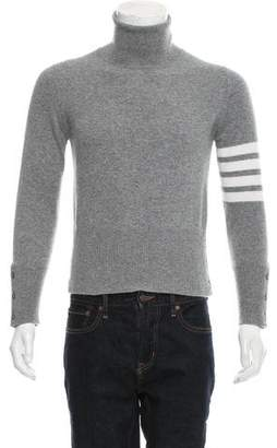 Thom Browne 4-Bar Striped Cashmere Turtleneck