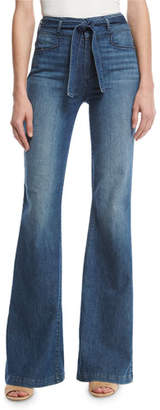 Paige Chandler Belted High-Rise Flare-Leg Jeans, Indigo $249 thestylecure.com