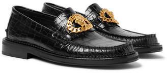 Versace Embellished Croc-Effect Leather Loafers - Men - Black