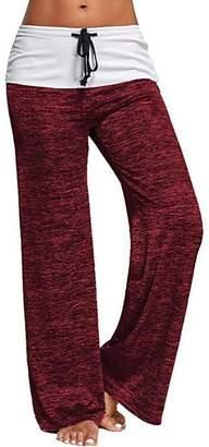 Jiayiqi Women's Elastic High Waist Yoga Drawstring Pants for Yoga Casual S