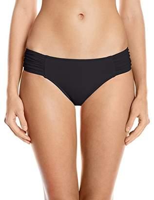Seafolly Women's Ruched Side Retro Medium Coverage Bikini Bottom Swimsuit Black