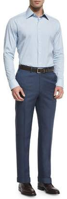 Brioni Phi Flat-Front Twill Trousers, Blue