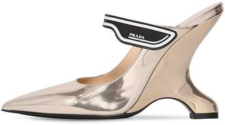 Prada 110mm Logo Strap Metallic Leather Mules