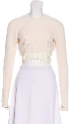 Elizabeth and James Textured Long Sleeve Cropped Top