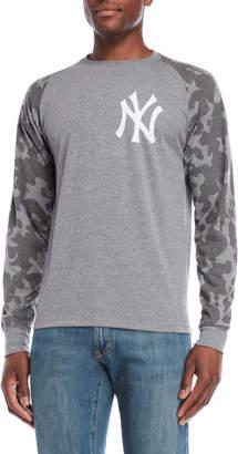 '47 Grey Camo Raglan Sleeve Yankees Tee