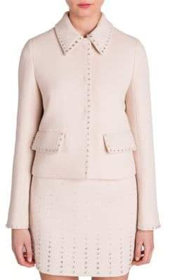 Miu Miu Jewel-Trim Cropped Wool Jacket