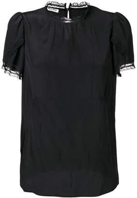 Miu Miu lace-trim fitted T-shirt