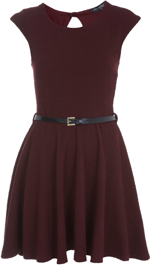 Burgundy textured skater dress