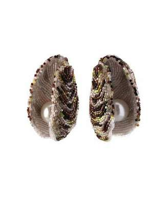Mignonne Gavigan Beaded Oyster Statement Earrings