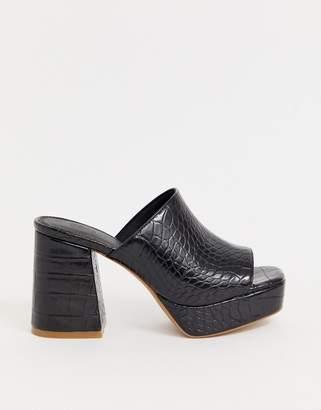 d0bc8d642225d Asos Design DESIGN Happy chunky platform mules in black croc