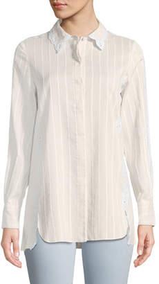Jonathan Simkhai Tonal-Striped Button-Down Cotton-Silk Shirt w/ Eyelet Lace