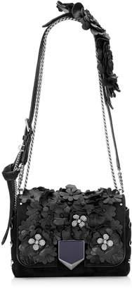 Jimmy Choo LOCKETT PETITE Black Nappa with Floral Applique Shoulder Bag
