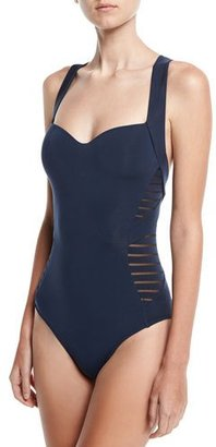 JETS by Jessika Allen Banded Side-Stripe One-Piece Swimsuit, Dark Blue $185 thestylecure.com