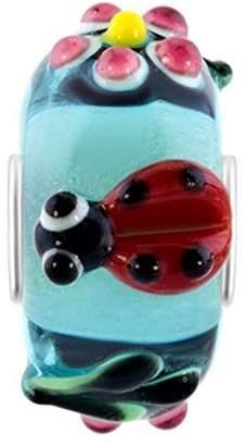 Murano ShinyJewelry Ladybug Pink Flower Green Leaf Glass Charm Beads For European Bracelets