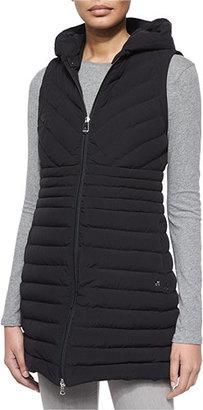 Peuterey Cartier Miter Ribbed Long Vest, New Black $695 thestylecure.com