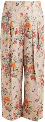 Rebecca Taylor Floral-print wide-leg cotton-blend trousers