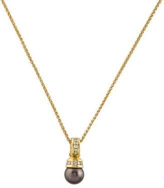 David Yurman 18K Pearl & Diamond Pendant Necklace