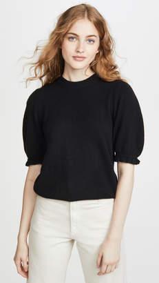 Frame Shirred Short Sleeve Cashmere Sweater