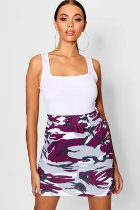 boohoo Camo Sweat Mini Skirt
