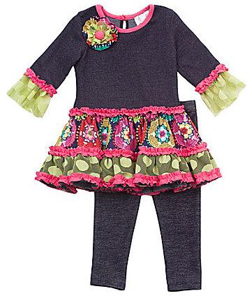 Rare Editions Infant Drop-Waist Dress & Leggings Set