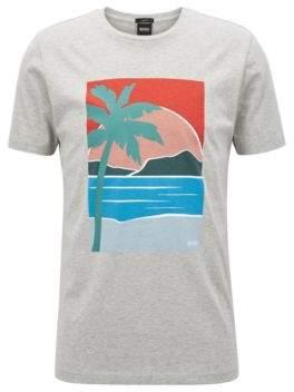 BOSS Hugo Slim-fit T-shirt placed summer print XL Open Grey