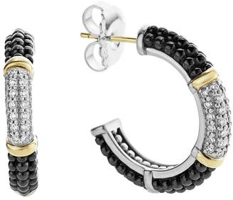 Lagos 'Black & White Caviar' Diamond Hoops