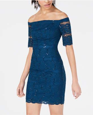 Teeze Me Juniors' Off-The-Shoulder Lace Bodycon Dress