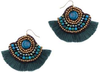 Nakamol Design Fringed Malachite Fan Earrings