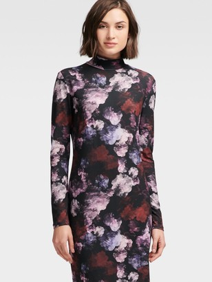 DKNY Floral Mock-turtleneck Dress