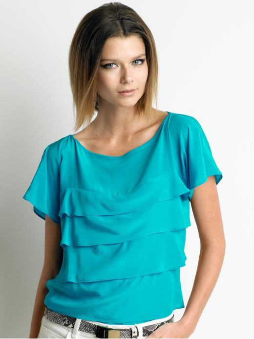 Tall silk tiered blouse