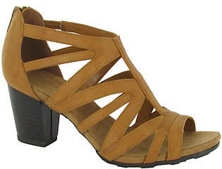Easy Street Shoes Block Heel Sandals with Back Zip -Amaze