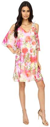 Maggy London Brushed Flower Chiffon w/ Cold Shoulder Dress Women's Dress