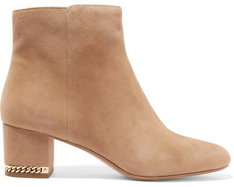 MICHAEL Michael Kors - Sabrina Chain-embellished Suede Boots - Tan $200 thestylecure.com