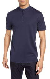 Vince Camuto Band Collar Slim Fit Stretch Henley
