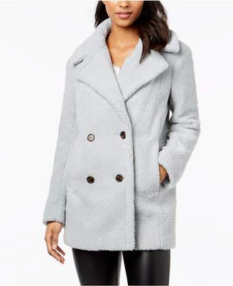Kensie Double-Breasted Faux-Fur Peacoat