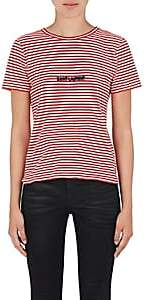 Saint Laurent Women's Logo Striped Cotton T-Shirt - Red