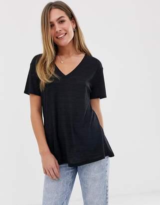 Asos Design DESIGN t-shirt in longline slubby rib in black