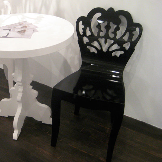 Pattern Bent Wood Chair - High Gloss Black
