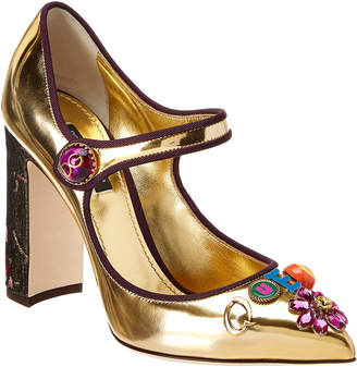 Dolce & Gabbana Queen Of Love Metallic Leather Mary Jane Pump