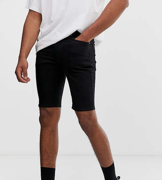 Asos Design DESIGN Tall denim shorts in spray on with power stretch in black