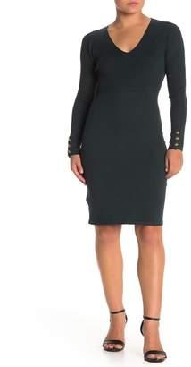 Modern American Designer V-Neck Button Sleeve Dress