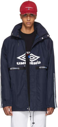 Vetements Navy Umbro Edition Logo Tape Track Jacket