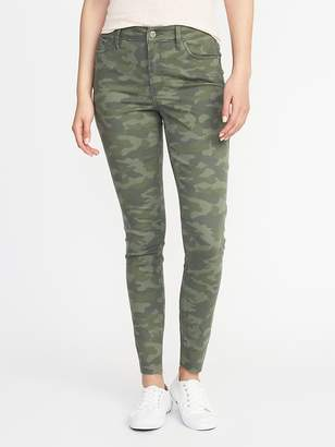 Old Navy Mid-Rise Camo-Print Raw-Edge Rockstar Ankle Jeans