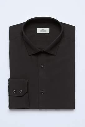 Next Mens Black Slim Fit Single Cuff Cotton Shirt - Black