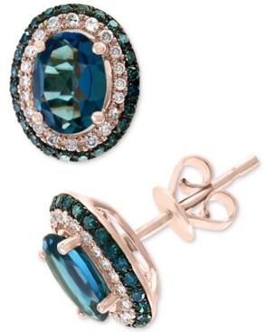 Effy London Blue Topaz (2-1/6 ct. t.w.) & Diamond (3/8 ct. t.w.) Stud Earrings in 14k Rose Gold
