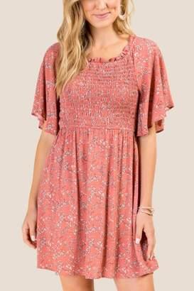 francesca's Harmony Floral Shift Dress - Rose