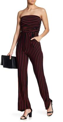 Pink Owl Stripe Strapless Jumpsuit