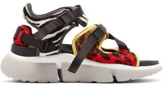 Chloé Leopard Print Raised Sole Trainer Sandals - Womens - Multi